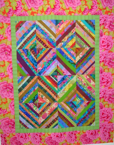 String Pieced Scrap Buster Quilt