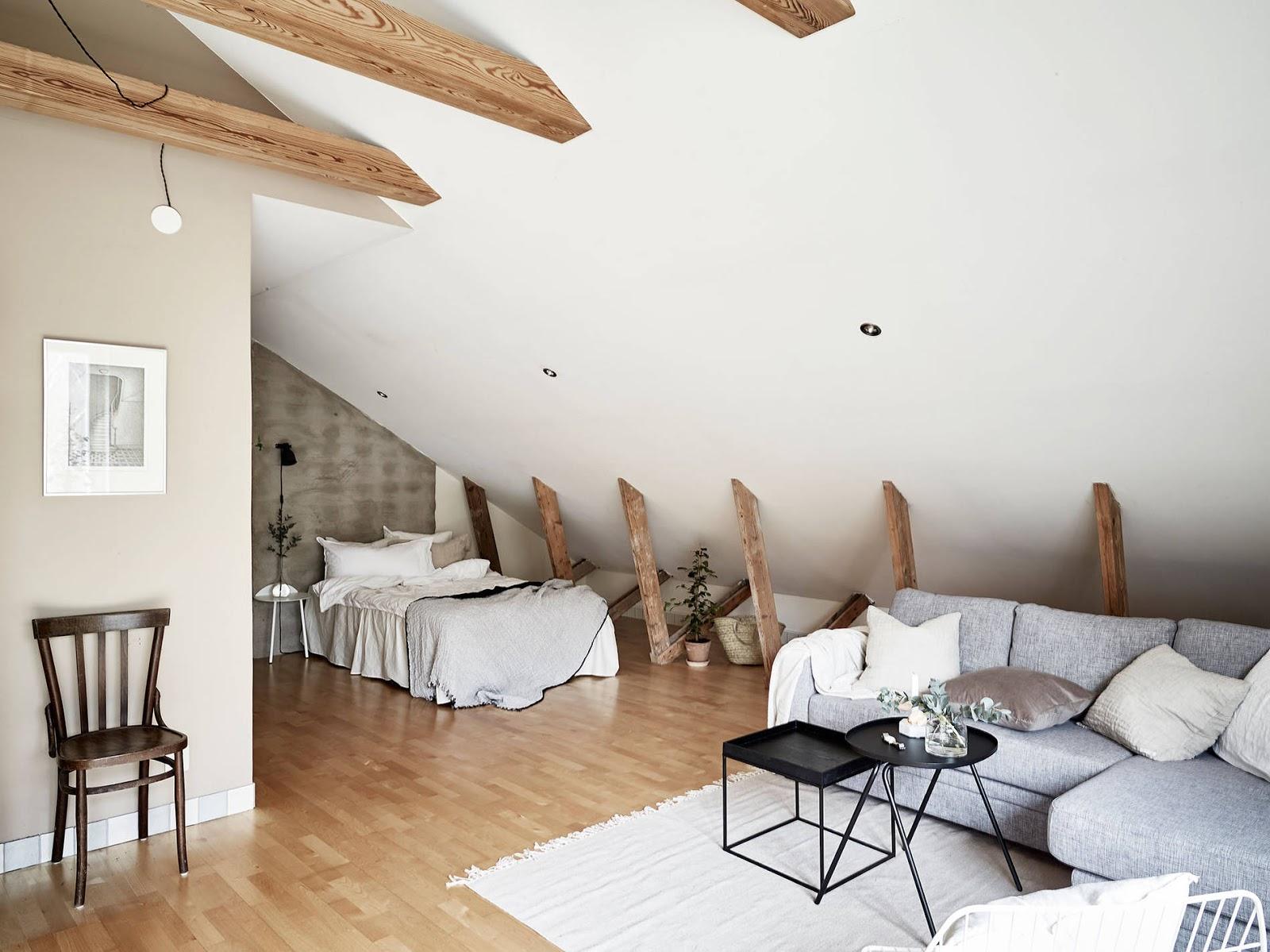 sypialnia w kawalerce, kącik do spania w kawalerce, aneks sypialniany w kawalerce, sypialnia w stylu skandynawskim