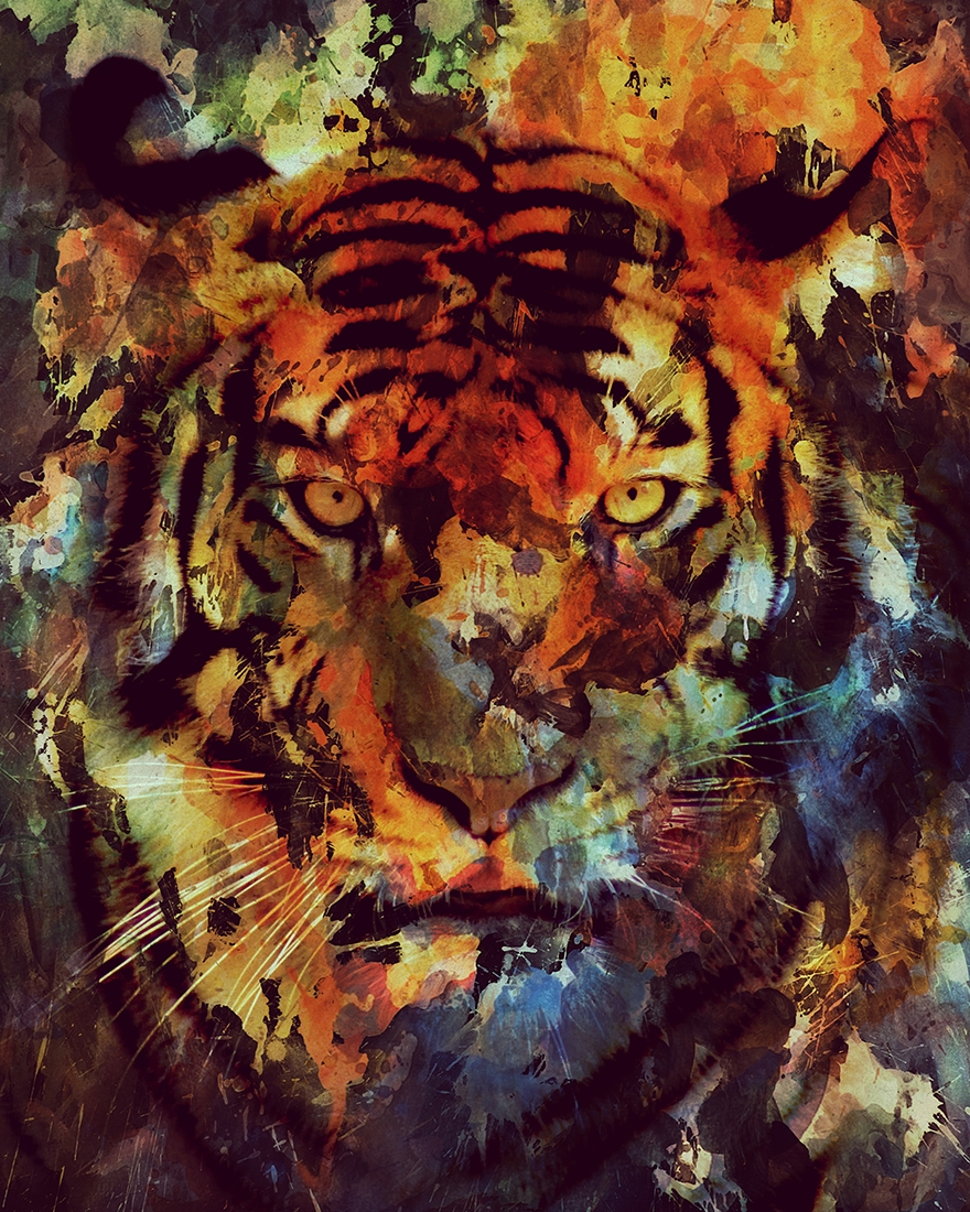 07-Tiger-Andreas-Lie-Watercolor-Paintings-that-Blend-in-the-Background-www-designstack-co
