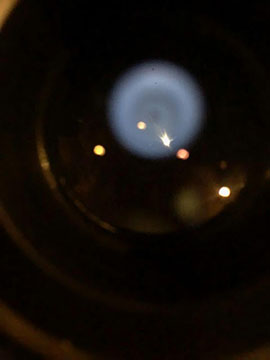 iPhone image of Arcturus and reflected dome lights at 60 inch eyepiece without adapter (Source: Palmia Observatory)