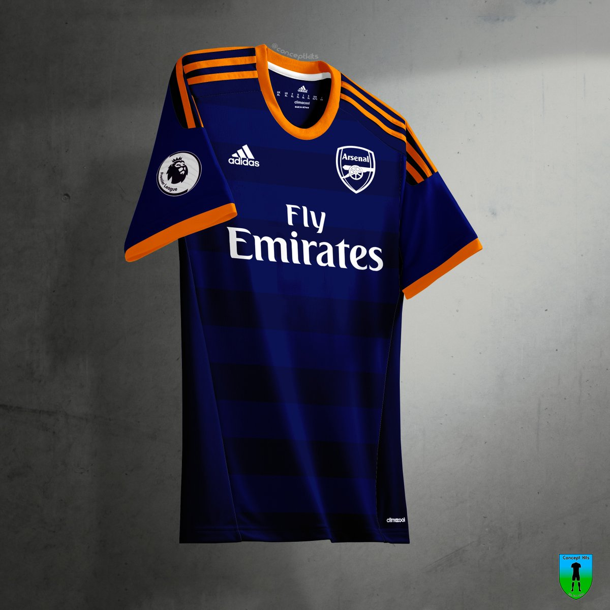 The fake Arsenal 19-20 third strip is also based on a fantasy design from   ConceptKits. It is navy and orange with white brandings on the front. 31fcd1e72