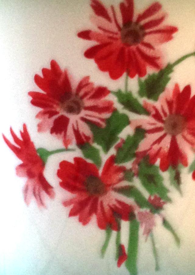 zománcos vödör virág motívuma