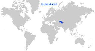 Gambar Peta letak Uzbekistan