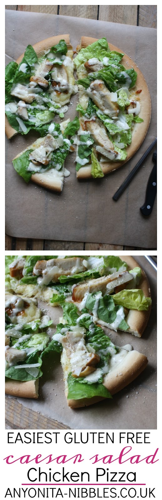 Gluten Free Chicken Caesar Salad Pizza on Anyonita-Nibbles