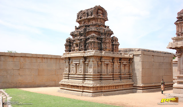 Devi shrine beside Hazara Rama temple in Hampi, Ballari district, Karnataka, India