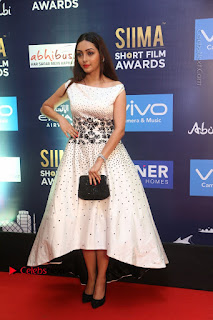 Pooja Salvi Stills in White Dress at SIIMA Short Film Awards 2017