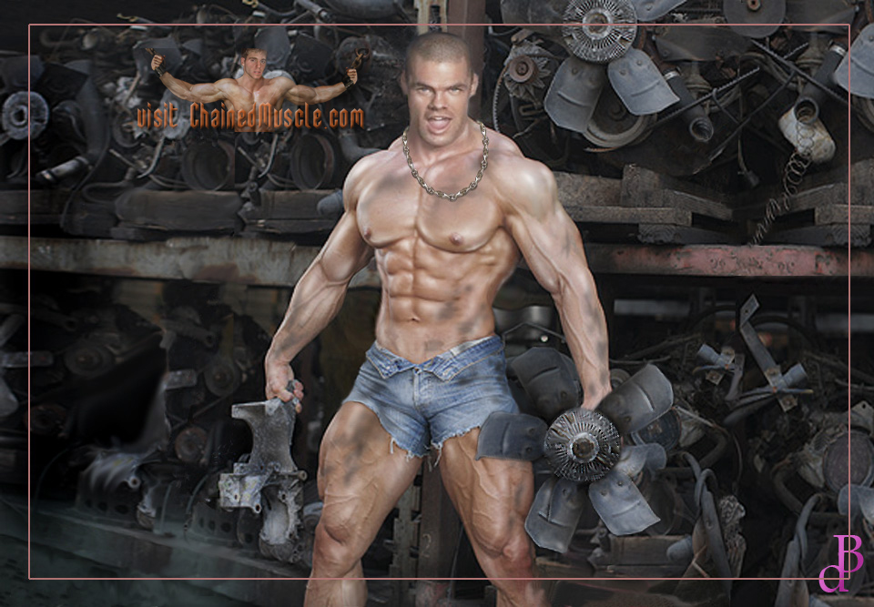 Chained Up Muscle Cock