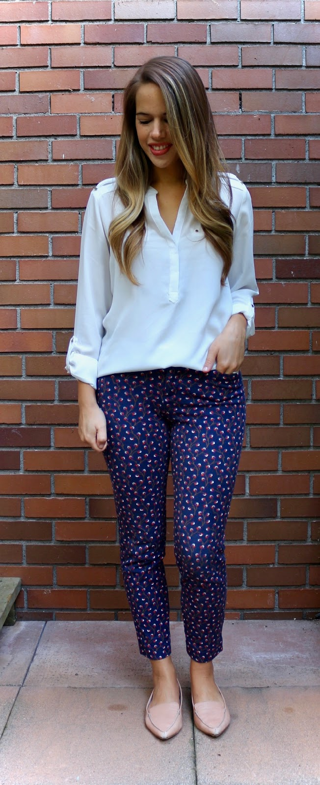 Jules in Flats - Patterned Pants with White Blouse (Business Casual Fall Workwear on a Budget)