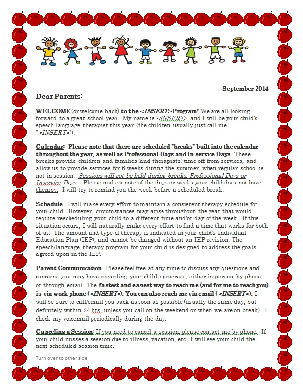 Let\u0027s Talk Speech and Language Freebie - Parent Welcome Letter for