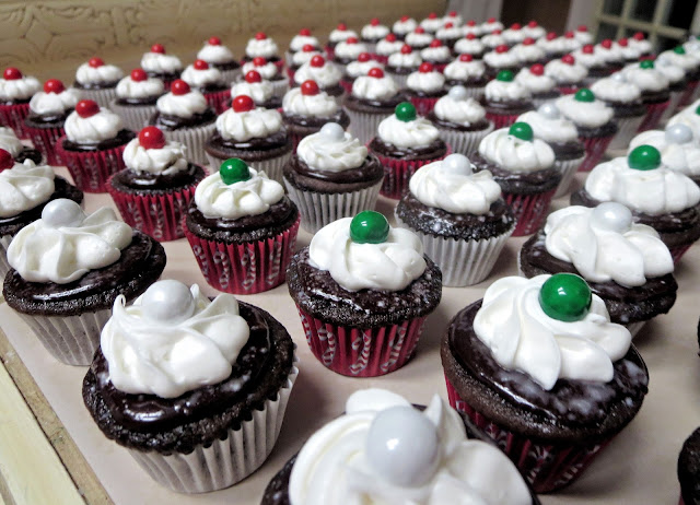 Christmas Chocolate and Peppermint Mini Cupcakes - Closer View of Green & White Sixlet Cupcakes