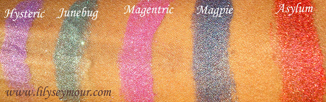 Sugarpill Hysteric, Junebug, Magentric, Magpie, Asylum ChromaLust Eyeshadows
