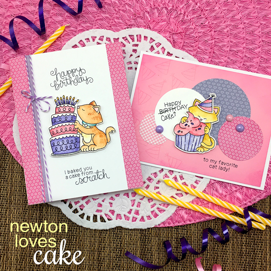 Cat eating Cake Birthday cards by Jennifer Jackson | Newton Loves Cake Stamp Set by Newton's Nook Designs