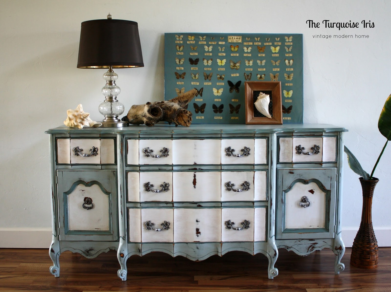 Vintage French Provincial Triple Dresser In Moody Blues