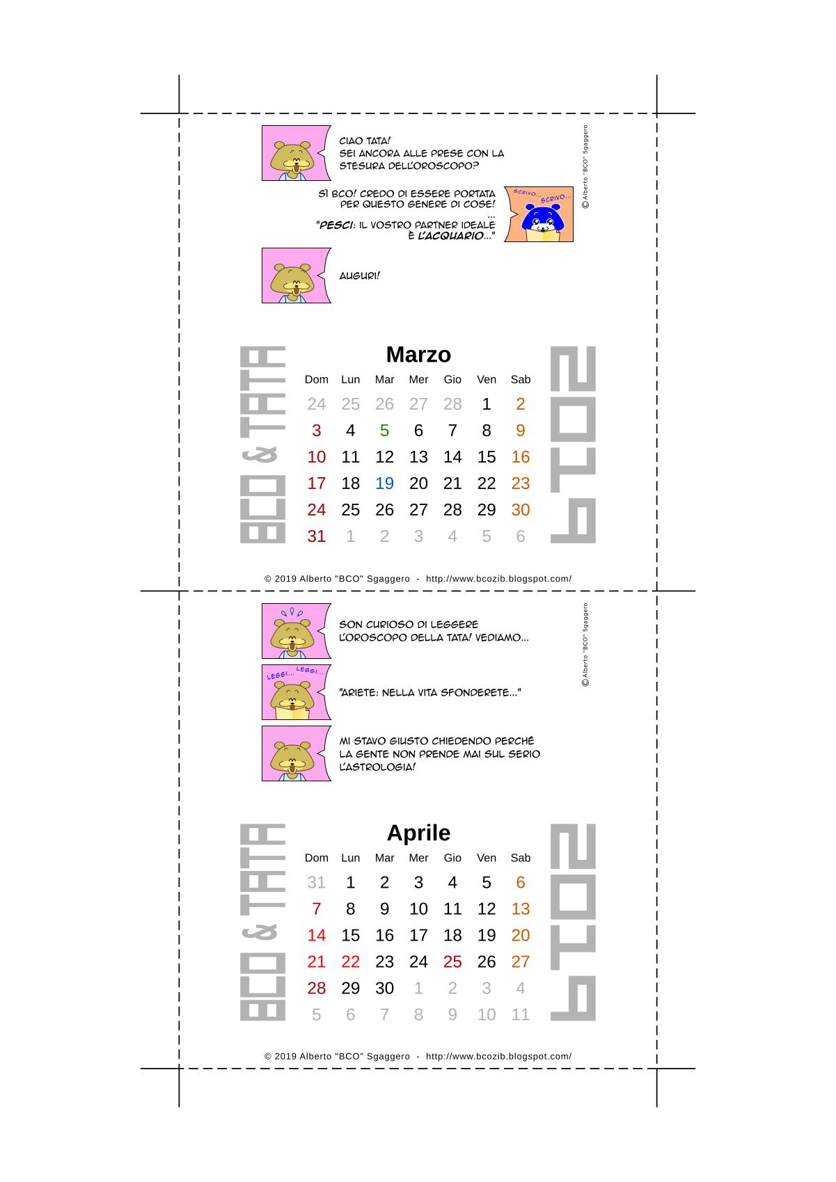 Il calendario 2019 di BCO e TATA - Marzo e Aprile