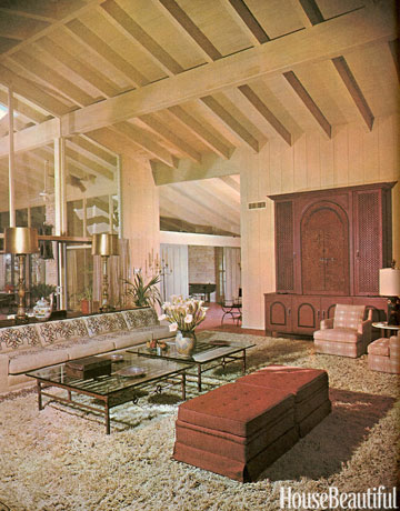 This page from an old design magazine features a 60s inspired living room with neutral tones.