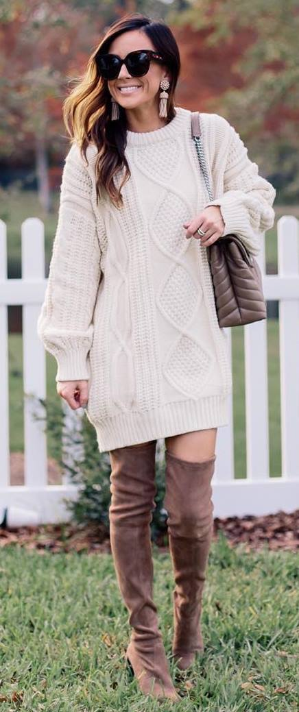 fashion trends / knit sweater dress + brown over the knee boots + bag