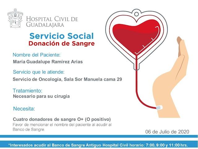 """Servicio Social de Sangre """"Urgente"""" para la paciente María Guadalupe Ramírez Arias."""