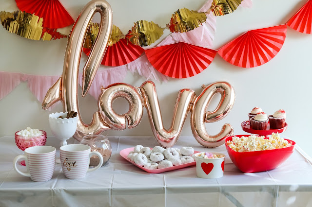 snack table at a Simple Valentine's Day party, Valentine's Day playdate, or Galentine's Party!