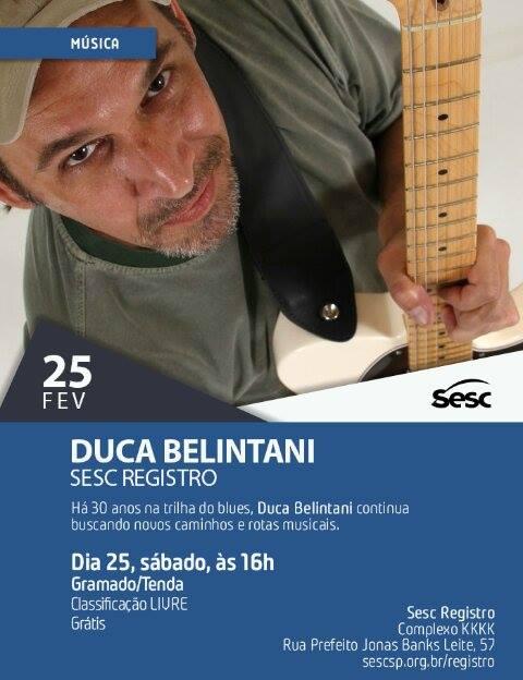 Guitarrista Duca Belintani no Sesc em Registro-SP neste 25/02