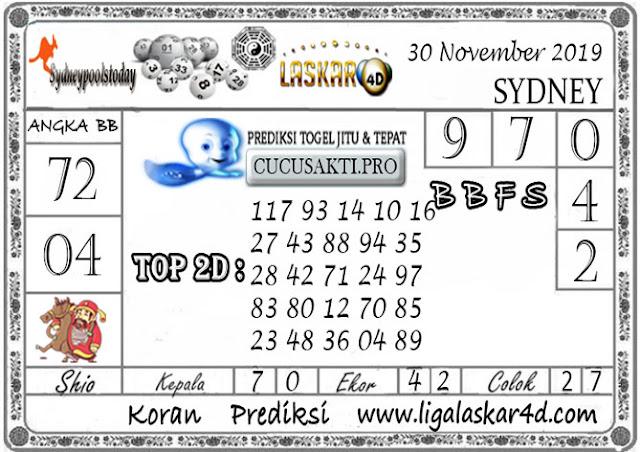 Prediksi Togel SYDNEY LASKAR4D 30 NOVEMBER 2019