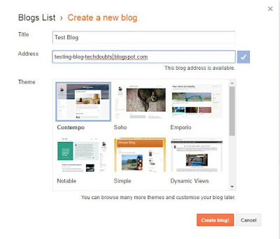 Create a new blog with Google Blogger Platform