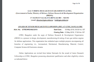 GTRE, DRDO JRF Recruitment Notification 2019 – Previous Papers