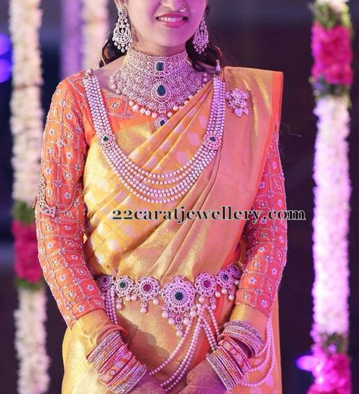 Bride In Pearl Mala And Choker Jewellery Designs