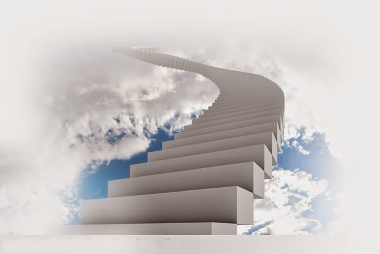 Escada branca cujos degraus levam ao céu, à casa de Deus.