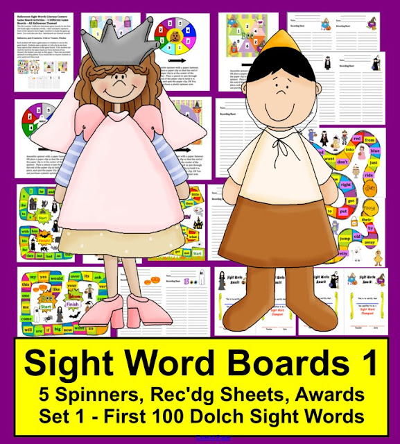 https://www.teacherspayteachers.com/Product/Halloween-Literacy-Centers-Sight-Words-Game-Boards-Set-1-First-100-Dolch-Words-360529