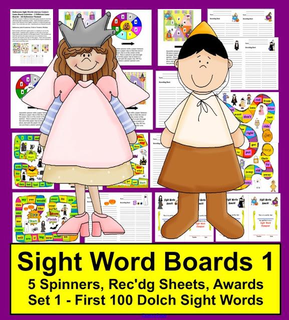 https://www.teacherspayteachers.com/Product/Halloween-Literacy-Centers-Sight-Words-Game-Boards-Set-1-First-100-Dolch-Words-360529