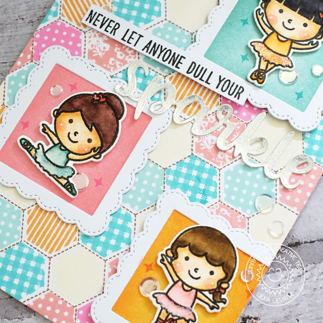 Sunny Studio Stamps: Tiny Dancers Hexagon Stamped Background Card by Lexa Levana