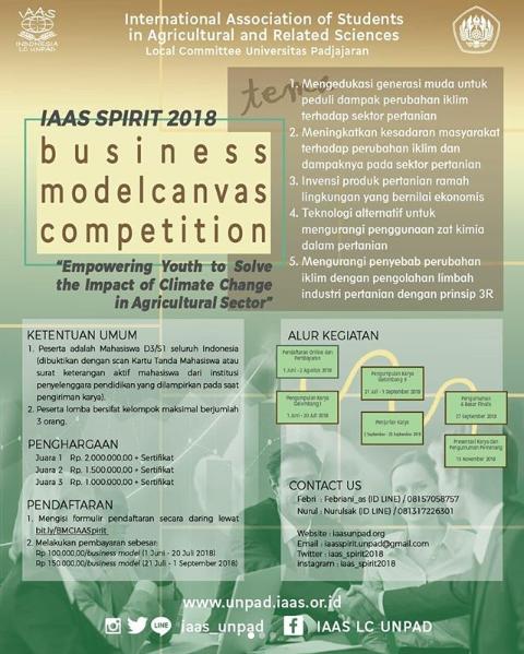 Info Lomba Business Modelcanvas IAAS Spirit Univ. Padjajaran 2018 Untuk Mahasiswa Deadline 1 September