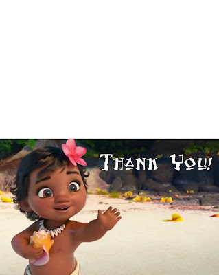 Moana Thank you cards to print