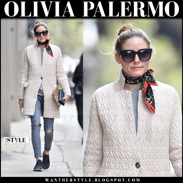 Olivia Palermo in cream max and co coat, grey jeans black orchid and black nike air presto sneakers what she wore april 2017