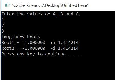 Find roots of quadratic equation
