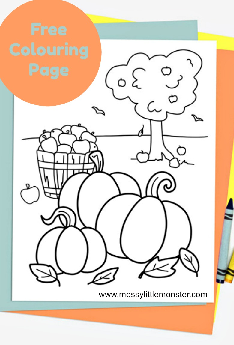 Free Printable Autumn Colouring Page Messy Little Monster