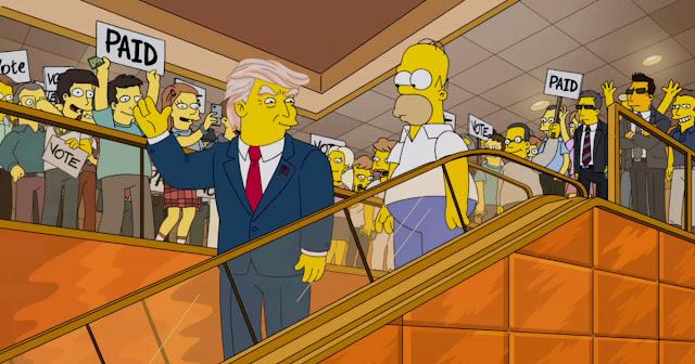É verdade que os Simpsons previram no ano 2000 que o empresario Donald Trump iria concorrer à presidência dos Estados Unidos em 2015? A imagem apareceu nas redes sociais em setembro de 2015 e mostra que o desenho animado The Simpsons teria previsto, no ano 2000, a candidatura de Donald Trump à presidência dos Estados Unidos nas eleições quinze anos depois. O trecho que revela essa previsão teria ido ao ar na 11ª temporada da série animada criada por Matt Groening e reproduz com tamanha exatidão uma cena que só viria a ocorrer em 2015! Será que essa história é verdadeira ou falsa?