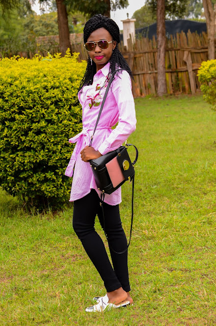 How To Wear A Pink Embroidered Shirtdress With Leggings