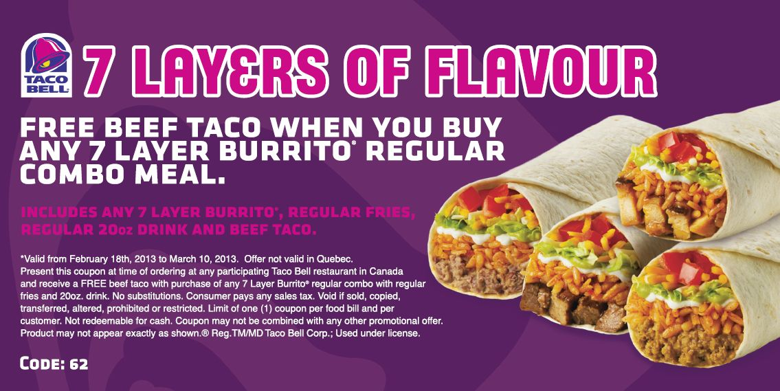 photograph about Taco Bell Printable Coupons titled Taco bell canada discount coupons : Magic hand clean
