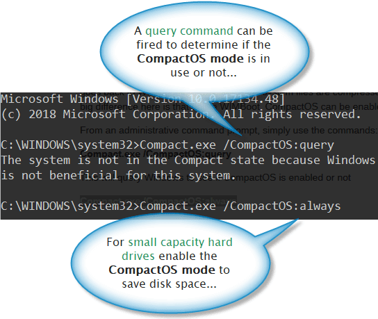 CompactOS mode activation via DOS command line prompt