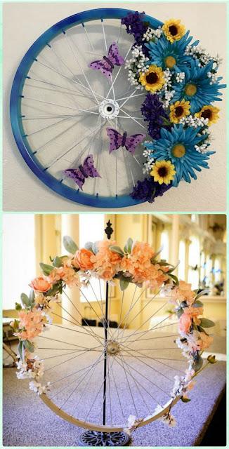 Recicla rueda de bicicleta para decorar tu casa