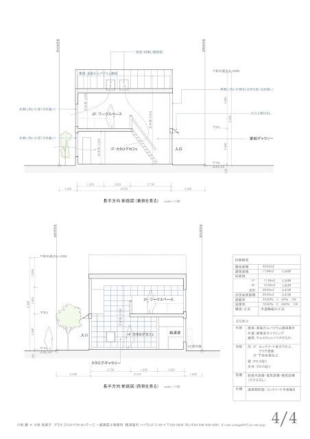 巨大な本棚に床がふわっと浮いているカタログカフェ 断面計画