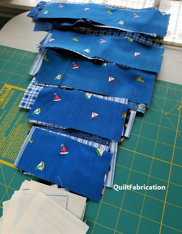 fabric organized for chain piecing