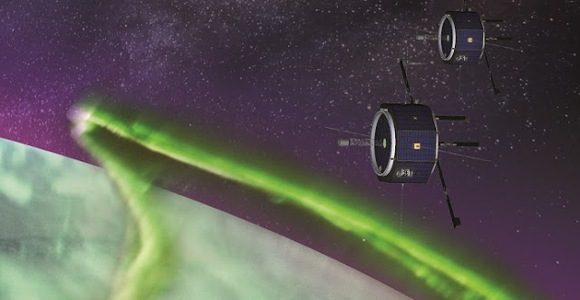 This artist's rendition shows MEME-X's dual spacecraft as they observe the aurora from an altitude like that of the International Space Station. Credits: NASA