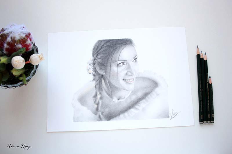 Retrato realista dibujado a mano con lápiz de grafito