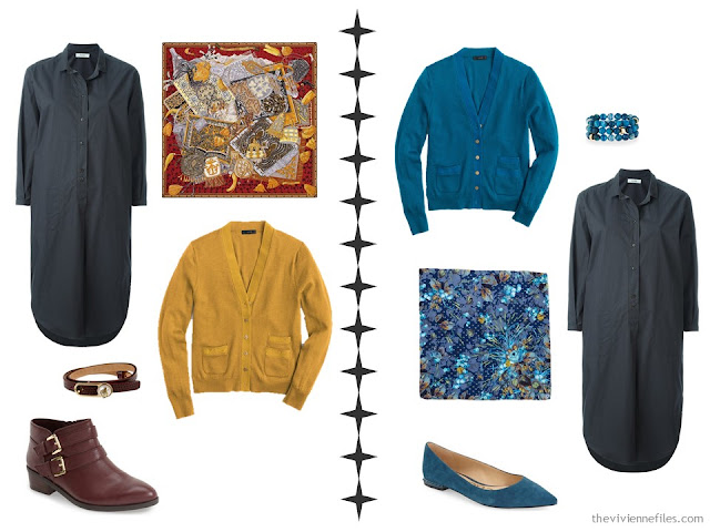 How to accessorize a grey dress with vivid tones of mustard or teal