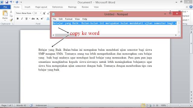 Cara Membuat Tulisan Rapi saat di Copy dari blog ke Microsof Word