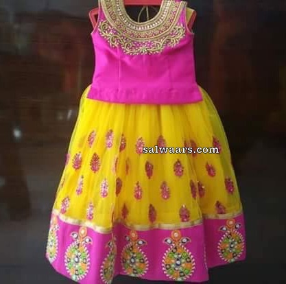 Yellow Pink Heavy Kids Lehenga