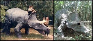 Replika Dinosaur yang ditinggalkan di Mimaland. Gambar dulu dan sekarang. Kini Mimaland dipenuhi dengan pokok yang menjadi hutan menutupi hampir keseluruhan Mimaland.