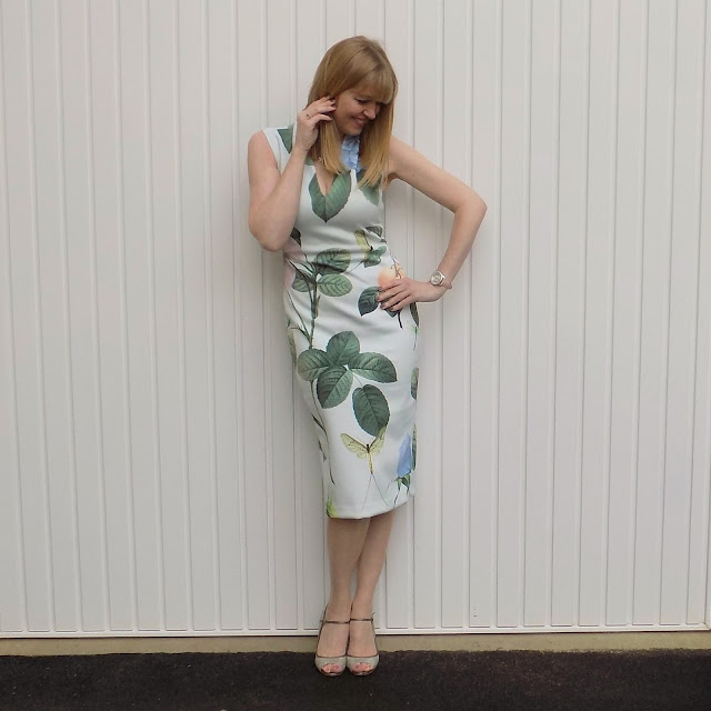 Ted Baker bodycon floral dress with sparkly Jimmy Choos